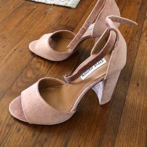 Velvet pink heels